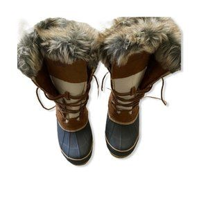 Khombu Nordic Snow Boots Brown Tan Suede Winter